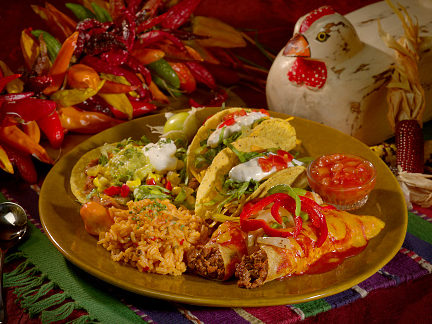 Rich Prepared Mexican Food Plate